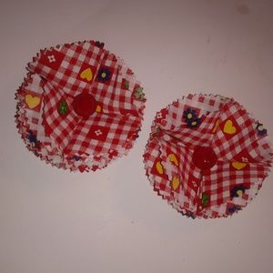 Red checkered rosette barrettes